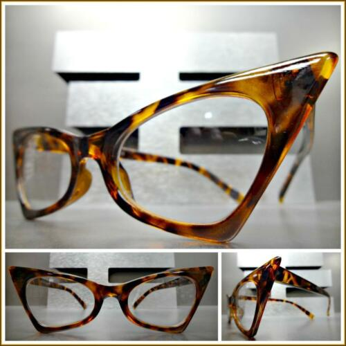 New Exaggerated Retro Cat Eye Style Clear Lens EYE GLASSES Pointy Tortoise Frame