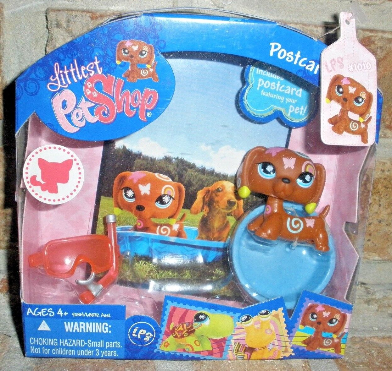 Littlest Pet Shop POSTCARD DACHSHUND 1010 2008 scuba mask VHTF