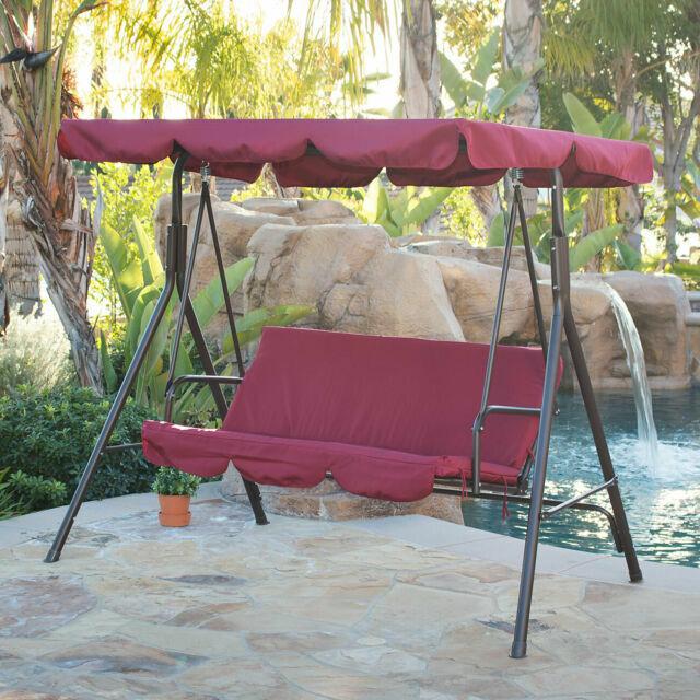 Belleze 3 Seat Canopy Porch Swing Burgundy 014 Hg 14340 For Sale Online Ebay