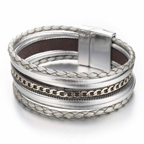 Cuir Femmes Charme Bracelet Wrap Gold Cuff Bangle Bracelets argent multi NEUF