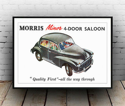 Morris Minor Saloon Vintage Motor car advert Poster reproduction.