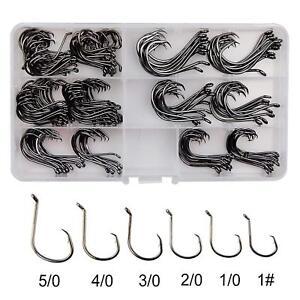 160-Offset-Circle-Fishing-Hooks-Box-Black-High-Carbon-Steel-Sizes-1-5-0
