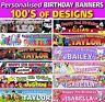 Personalised Children kids Birthday Professional Vinyl Banners 100's of Designs