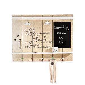 wand garderobe aus holz used look mit ablage uhr tafel. Black Bedroom Furniture Sets. Home Design Ideas