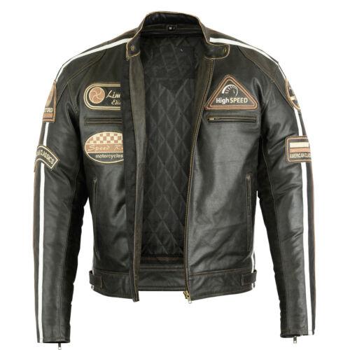 Uomo Giacca In Pelle Moto Biker Giacca Giacca Moto con protezioni Giacca di pelle