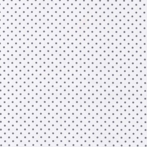 100/% TELA DE ALGODÓN guardería Clásicos de algodón-Gris Sobre Blanco-punto pequeño