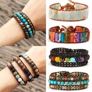 7-Chakra-Natural-Stone-Crystal-Tube-Beads-Bracelet-Handmade-Leather-Wrap-Bangle