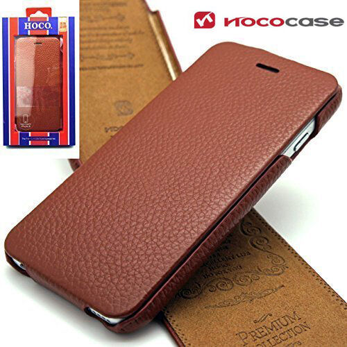 release date 593cd 5c242 Genuine Top Layer Leather HOCO FLIP Case Cover For Apple iPhone 6 & 6S BROWN