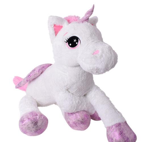 TE-Trend Plüschtier Einhorn Unicorn liegend 60cm weiß pink mit Flügel mehrfarbig