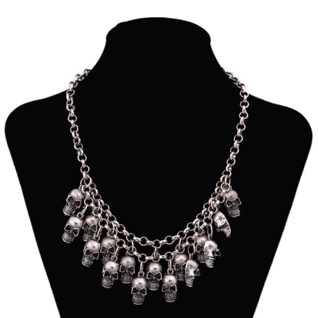 Punk Silver plt Head Skull Pendant chunky Collar Bib Necklace statement Jewelry