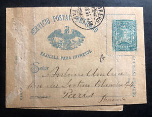 1895-Mexico-Stationery-Wrapper-Cover-To-Paris-France