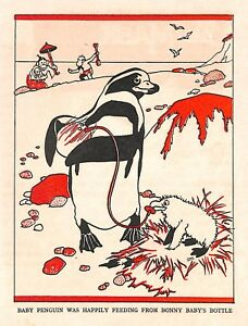 Penguin-Beach-Lawson-Wood-1950-Cartoon-Animal-print-Art-Artist