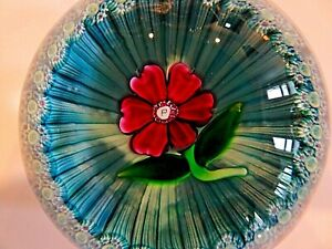 1972 Perthshire Glass FLOWER over BASKET Lampwork PAPERWEIGHT Blue
