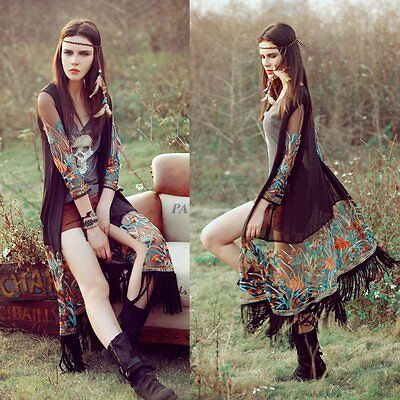 Women/'s Boho Tassels Loose Shawl Kimono Cardigan Long Chiffon Tops Jacket Blouse