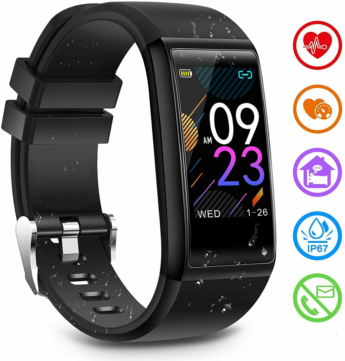Fitness Tracker Activity Tracker Watch with Heart Rate Blood Pressure Sleep Moni
