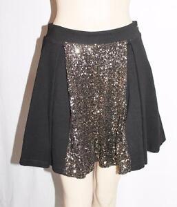 HUNT-NO-MORE-Designer-Black-Gold-Sequins-Full-Skirt-Size-10-S-BNWT-SN30