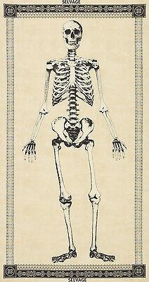 2.6 Yard Cotton Fabric - Timeless Treasures Mr Bones Skeleton Panel Crm