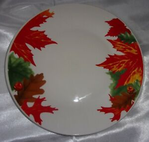 """4 ROYAL NORFOLK COLORFUL AUTUMN FALL THANKSGIVING LEAVES DINNER PLATES 10.5"""""""