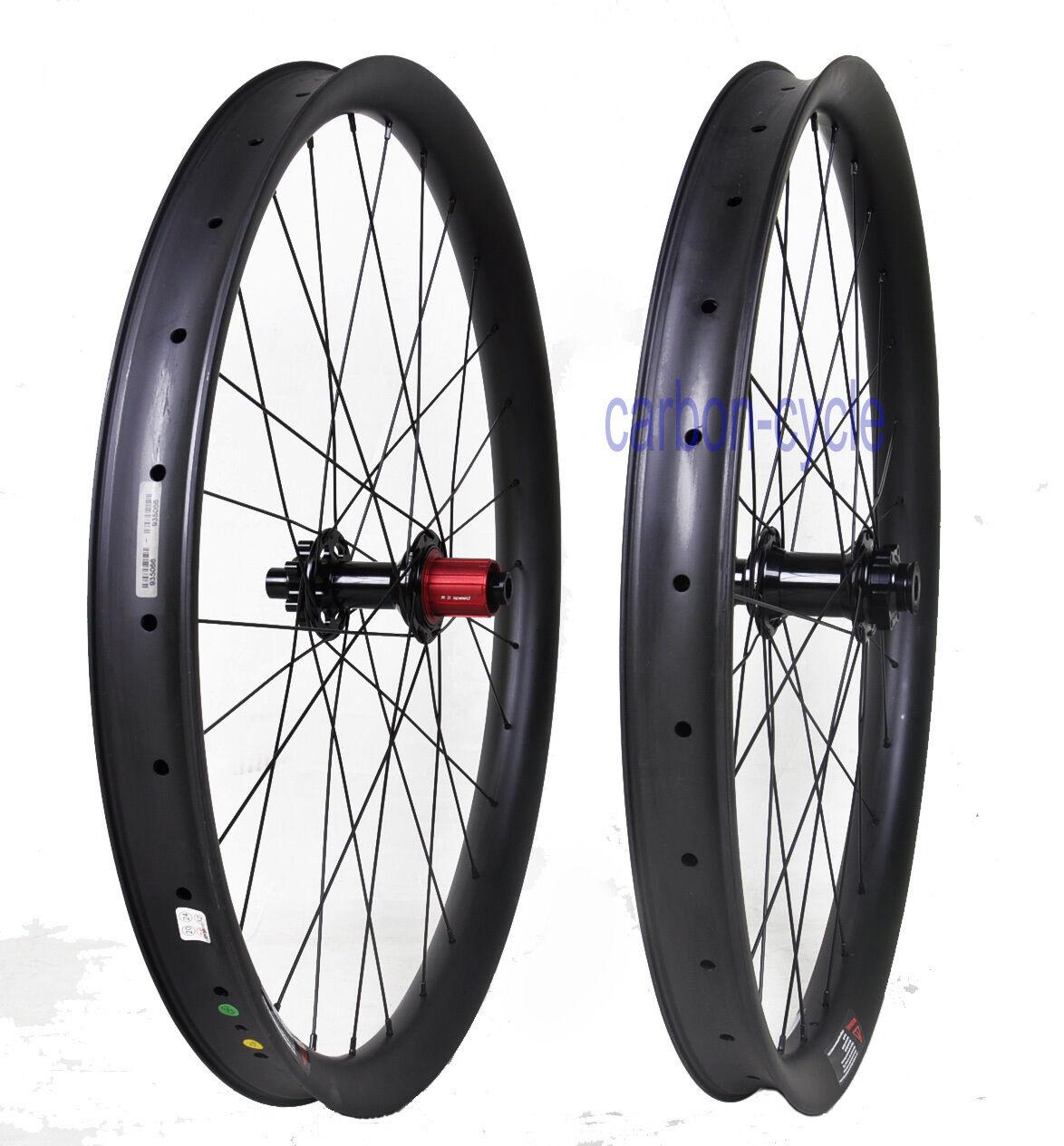 27.5er Boost 50mm Carbon Wheelset 110 148 Thru Axle Clincher MTB Bike Matt PLUS