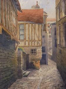Aquarell-Unterzeichnet-Ritter-um-1915-Ansicht-Caen-Normandie-Normandy-Cityscape