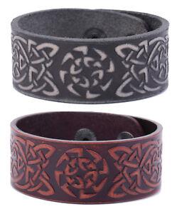 Vintage-Talisman-Slavic-Symbol-Celtic-Knot-Leather-Bangle-Bracelet-for-Men-Women