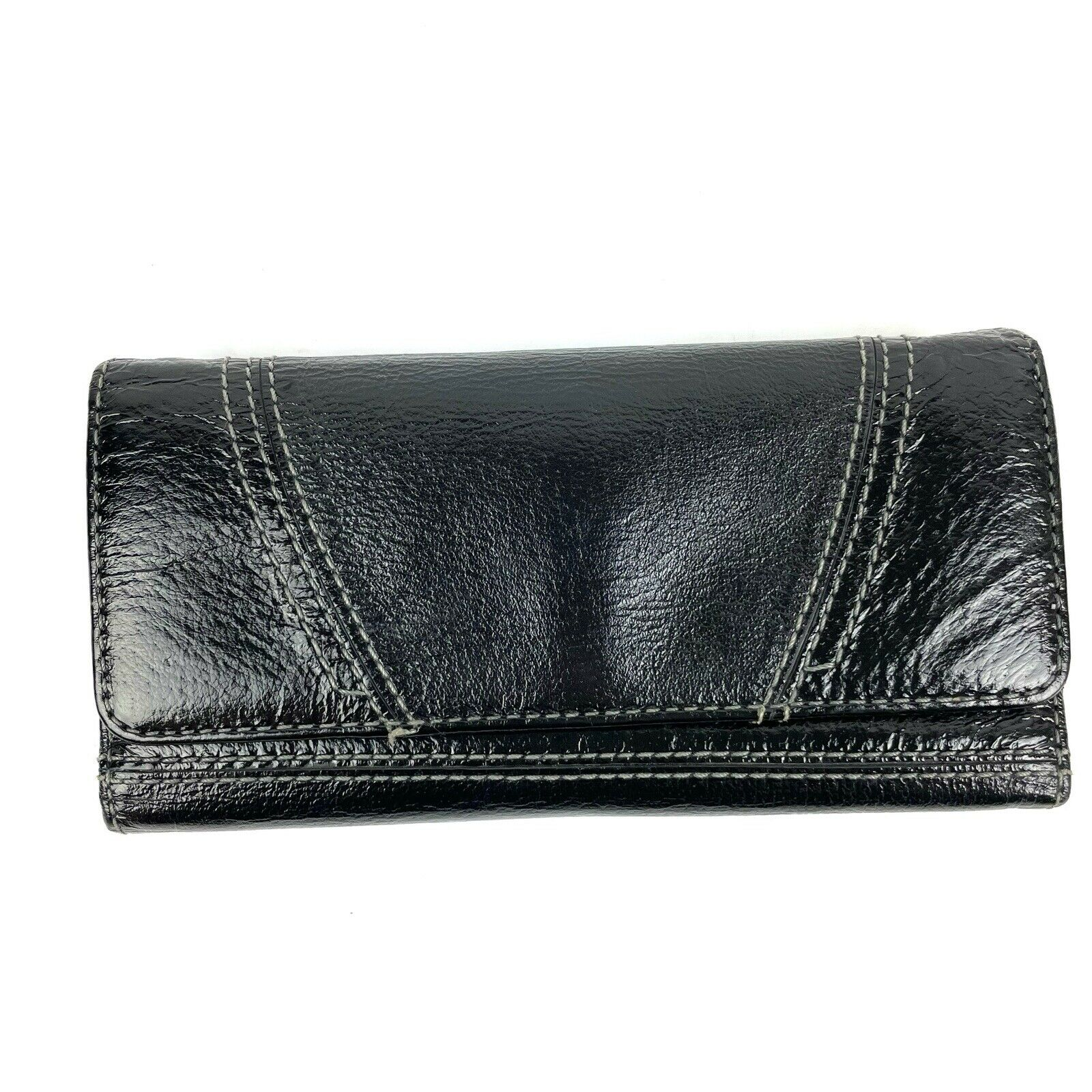 Hobo International Trifold Wallet Black Leather Snap Organizer Clutch READ