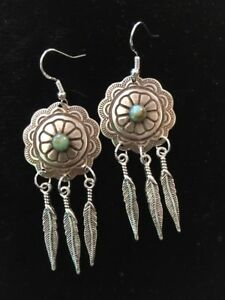 Details About Feather Concho Earrings Silver With Turquoise Tone Sterling Ear Wires