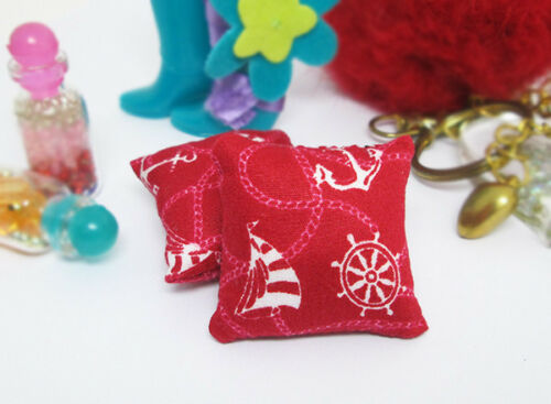 2Pcs Red White Anchor Ship Pillow For Sofa Couch Bed 1//12 Dollhouse Miniature