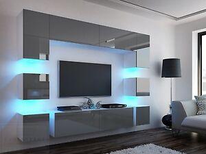 Wohnwand weiß grau hochglanz  Wohnwand Quadro 228 cm Grau Hochglanz/Weiß LED Beleuchtung Mirage ...