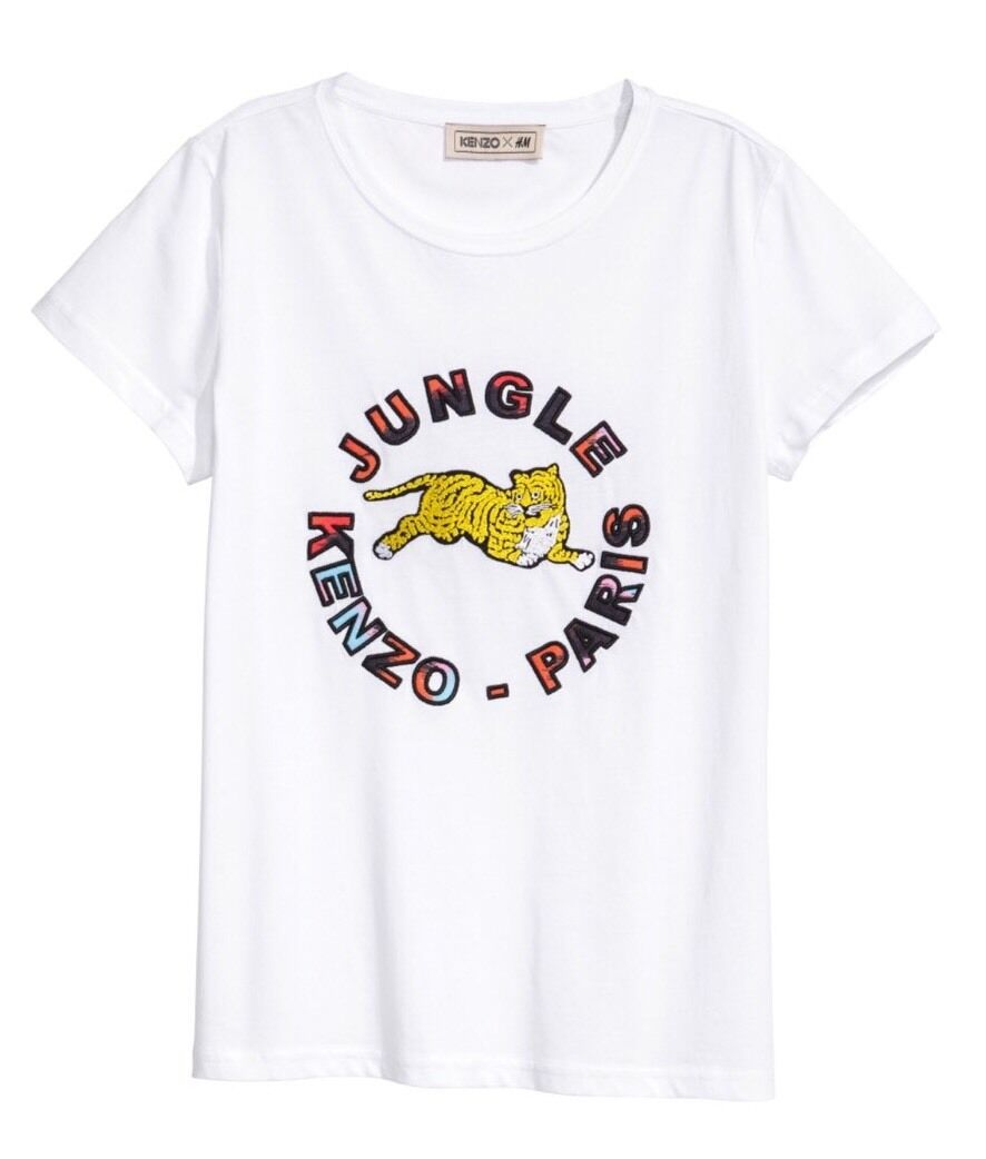 Hot-KENZO X H&M Womens White Top T-shirt Top with Appliqués S, Small White
