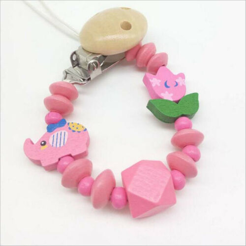 Dummy Clips Wooden Baby pacifier Clips Wood Beads Girls and BoyS