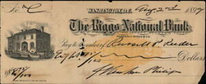 1899 Washington District Of Columbia (DC) The Riggs National Bank Check for $8.7