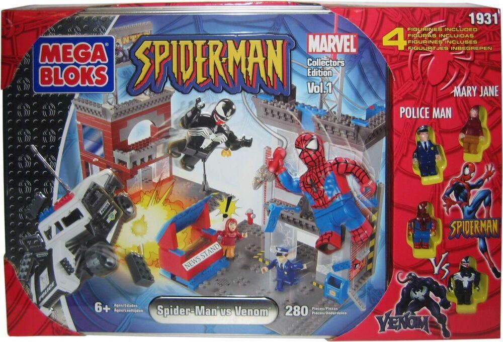 2004 Marvel Mega Bloks SpiderMan vs. Venom Collectors Edition Set 1931 Tin  MIB