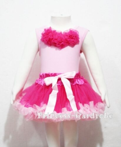 Baby Pink Top Hot Pink Rose with Pettiskirt Set 3-12M