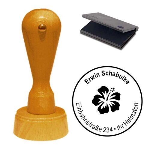Stempel « Hibiskus » Adressenstempel Motivstempel Holzstempel