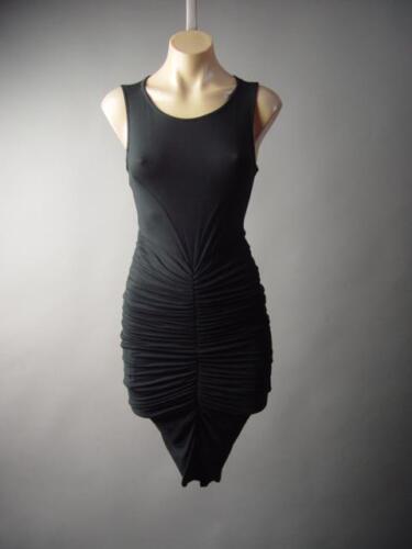 Black Modern Minimalist Ruched Draped Goddess Bodycon Party 189 mv Dress S M L