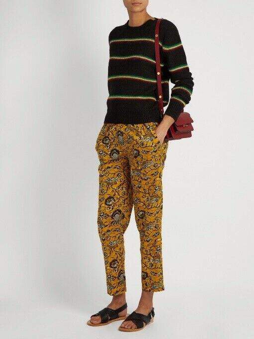 Isabel Marant Étoile Alka Floral-Print Cropped Trousers in Yellow Size 36