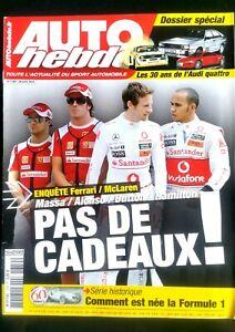 Auto Hebdo Du 28/04/2010; Dossier Audi Quattro/ Enquête Ferrari-mclaren Avec Le Meilleur Service