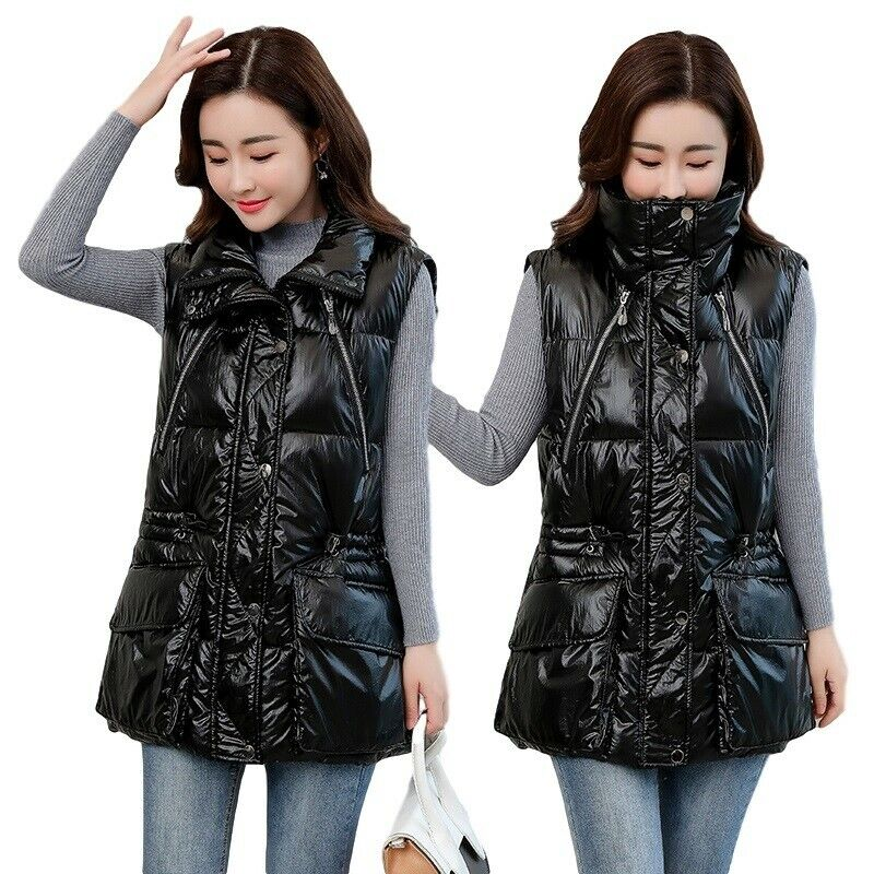 Womens L-5XL Glossy Down Cotton Vest Jacket Stand Collar Thick Loose Waistcoat D