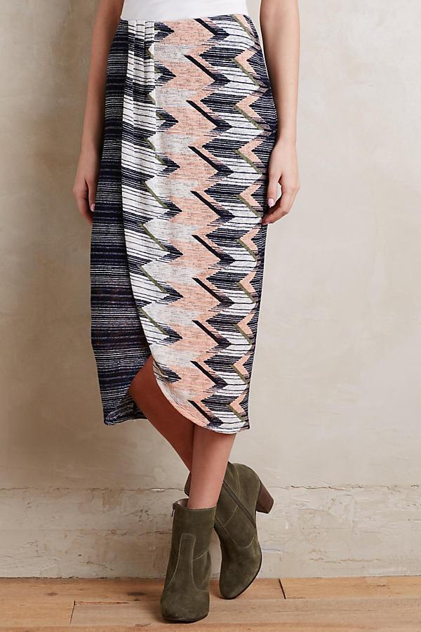 NWT Anthropologie silver Chevron Skirt by Maeve, XXS, MP, Vivid color, Tulip Hem