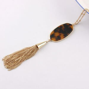 Fashion-Oval-Abalone-Shell-Leopard-Long-Tassel-Pendant-Statement-Necklace-Women
