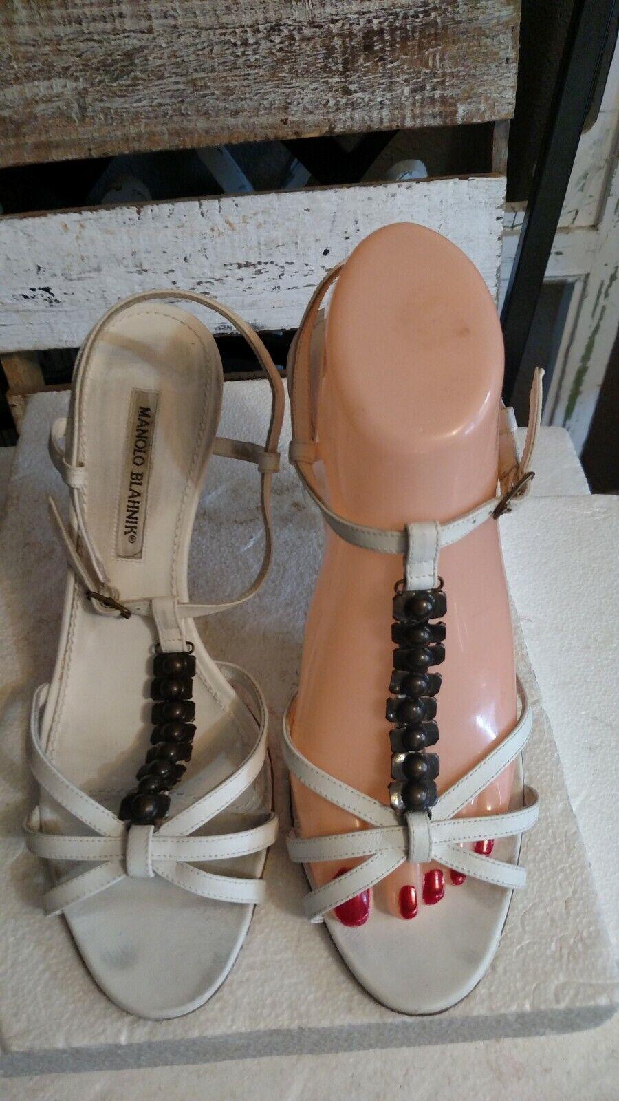 Manolo  Blahink  515 pelle bianca Strappy Open Pump Sandals 40 accenti metallici  Spedizione gratuita per tutti gli ordini