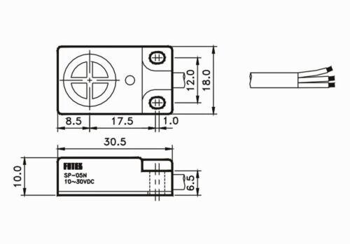 1pc Sensor de proximidad Fotek SP-05N D = 5mm negativo positivo negativo DC10-30V IP67 vertical de Taiwán