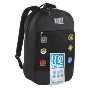 BLIZZARD-BLIZZCON-Zaino-Nero-Black-Backpack-Overwatch-BADGE-ICON-PACK-NUOVO