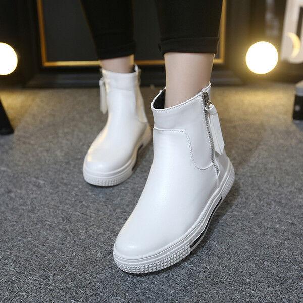 Stiefel elegant niedrig 3.5 cm weiß Sport simil Leder CW783  | Elegante Form
