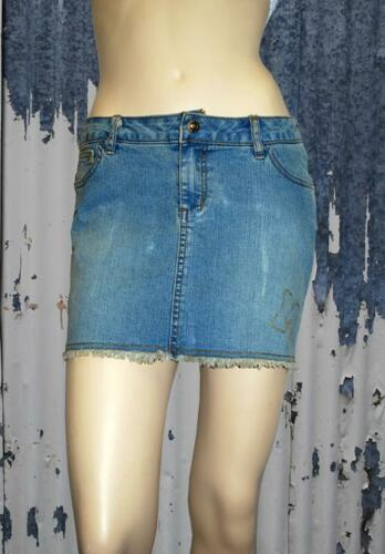 MECCA GIRL Washed Denim Embroidered Logo Mini Skirt