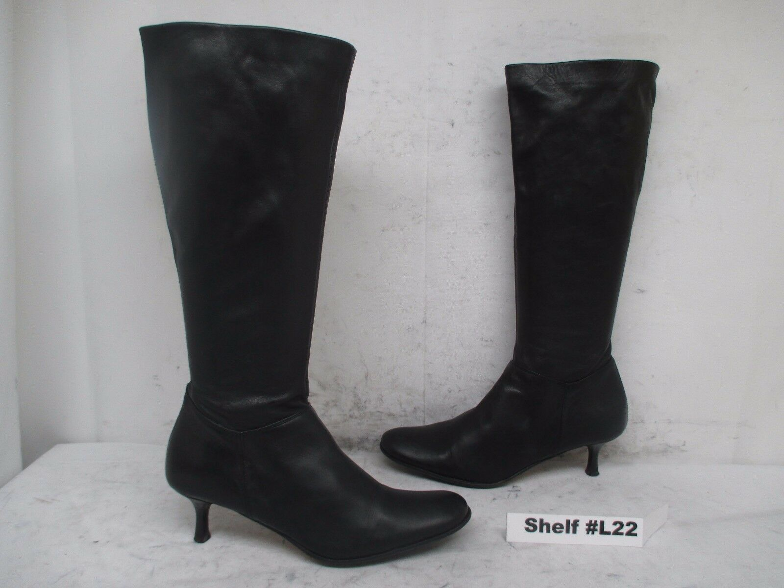 Kenneth Cole New York Black Leather Zip Knee High Boots Size 38 EUR