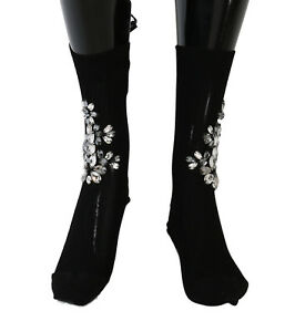 NEW $720 DOLCE & GABBANA Socks Black Knitted Floral Clear Crystal Stockings s. S