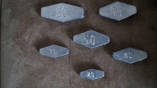 6 teiliges Sargblei  SET: 20,30,40,50,60,80  Gramm