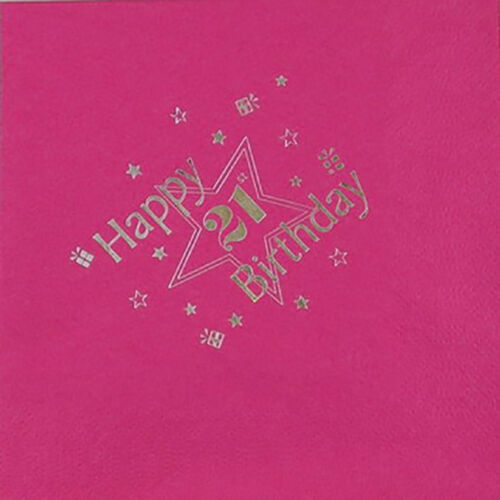 Pk 15 Luxury 3 Ply Tissue in Fuchsia 21st Birthday Napkins